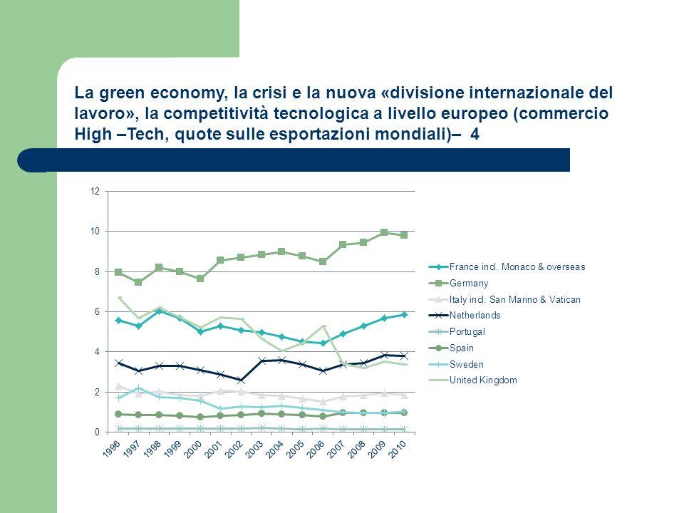 La green economy, la crisi e la nuova «divisione internazionale del lavoro», la competitività tecnologica a livello europeo (commercio