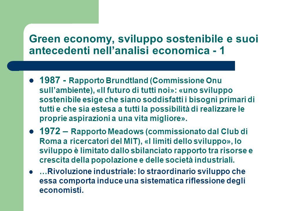 Green economy, sviluppo sostenibile e suoi antecedenti nell'analisi economica - 1