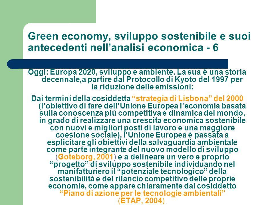 Green economy, sviluppo sostenibile e suoi antecedenti nell'analisi economica - 6