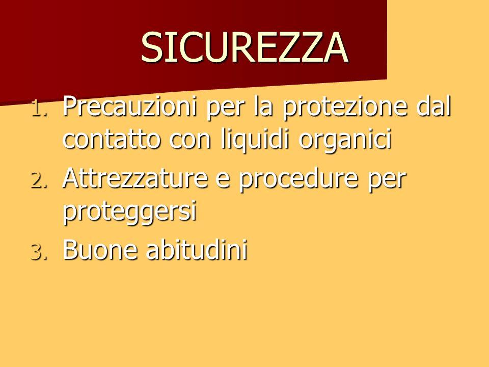 SICUREZZA Precauzioni per la protezione dal contatto con liquidi organici. Attrezzature e procedure per proteggersi.