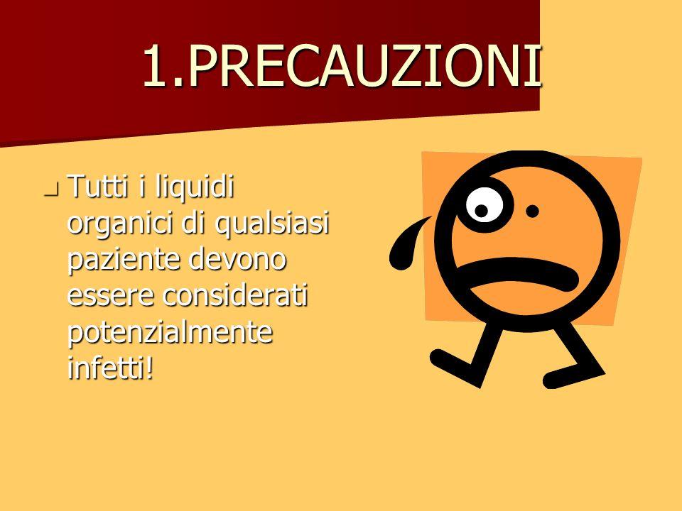 1.PRECAUZIONITutti i liquidi organici di qualsiasi paziente devono essere considerati potenzialmente infetti!