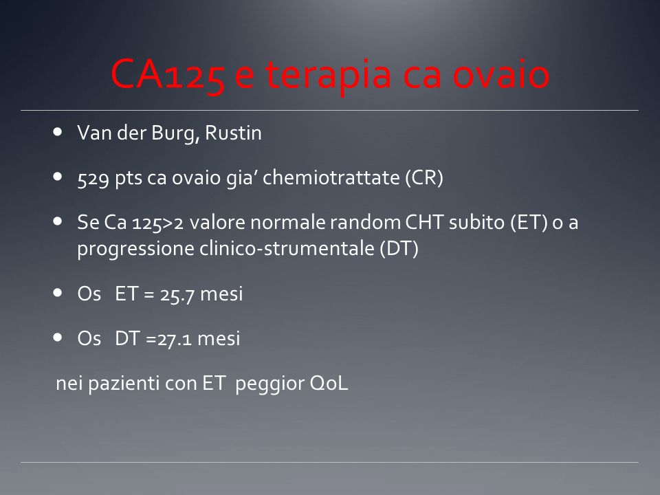 CA125 e terapia ca ovaio Van der Burg, Rustin