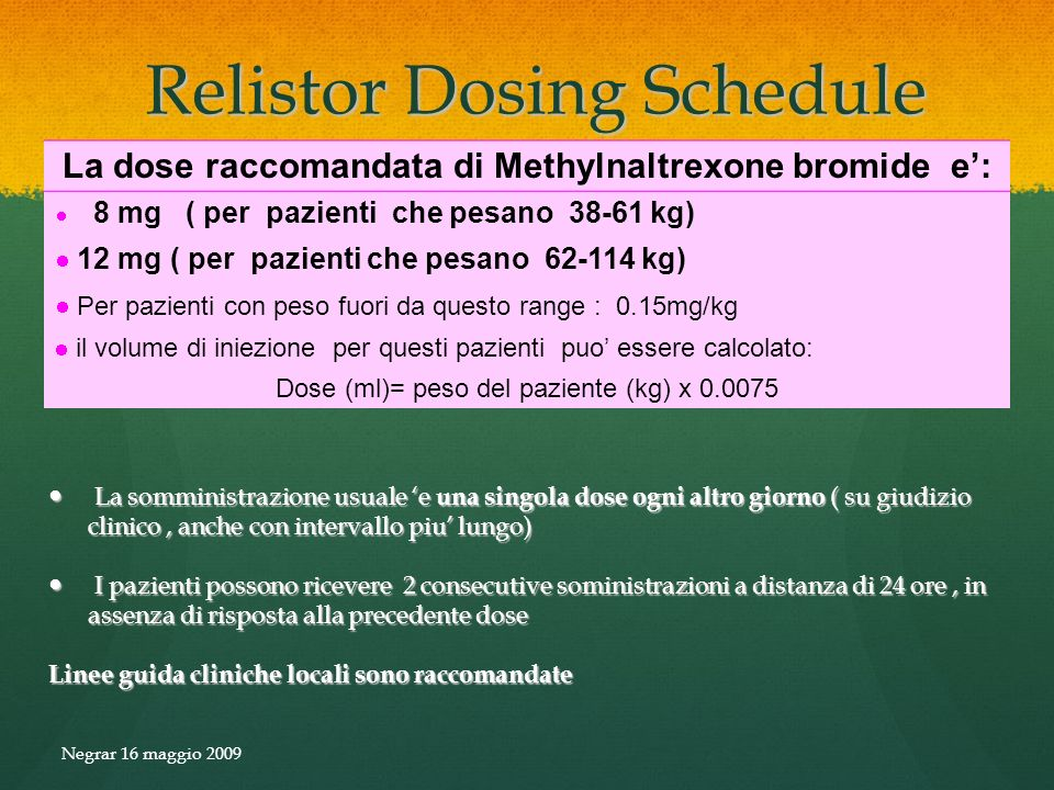 Relistor Dosing Schedule