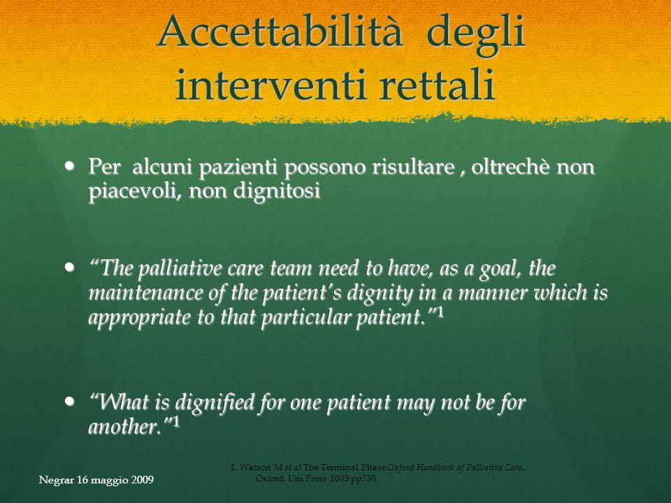 Accettabilità degli interventi rettali