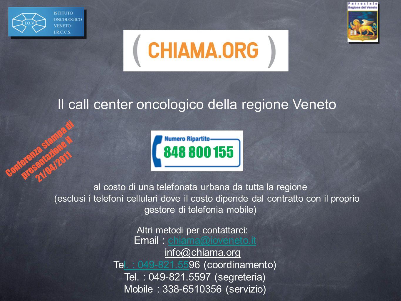 Il call center oncologico della regione Veneto