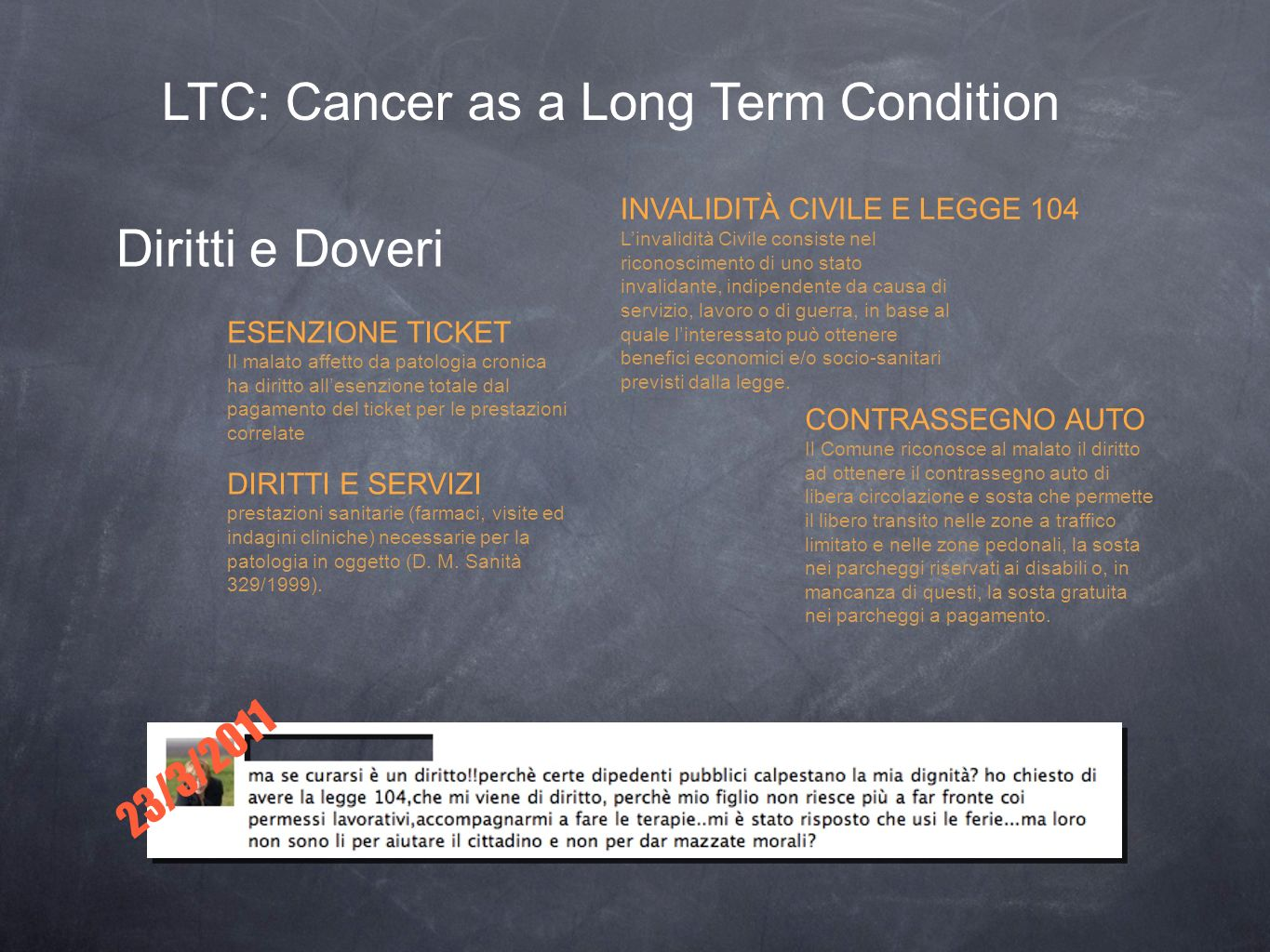 LTC: Cancer as a Long Term Condition