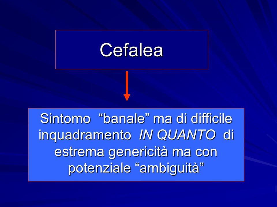 Cefalea Sintomo banale ma di difficile inquadramento IN QUANTO di estrema genericità ma con potenziale ambiguità