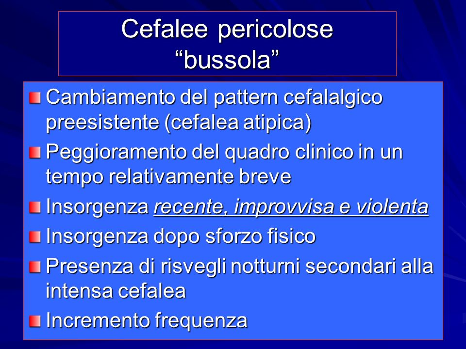 Cefalee pericolose bussola