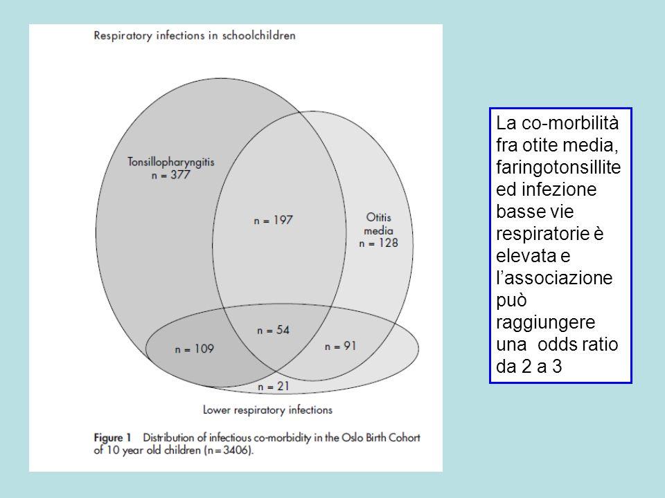 La co-morbilità fra otite media, faringotonsillite ed infezione basse vie respiratorie è elevata e l'associazione può raggiungere una odds ratio da 2 a 3