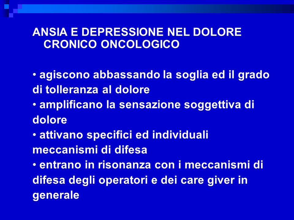 ANSIA E DEPRESSIONE NEL DOLORE CRONICO ONCOLOGICO