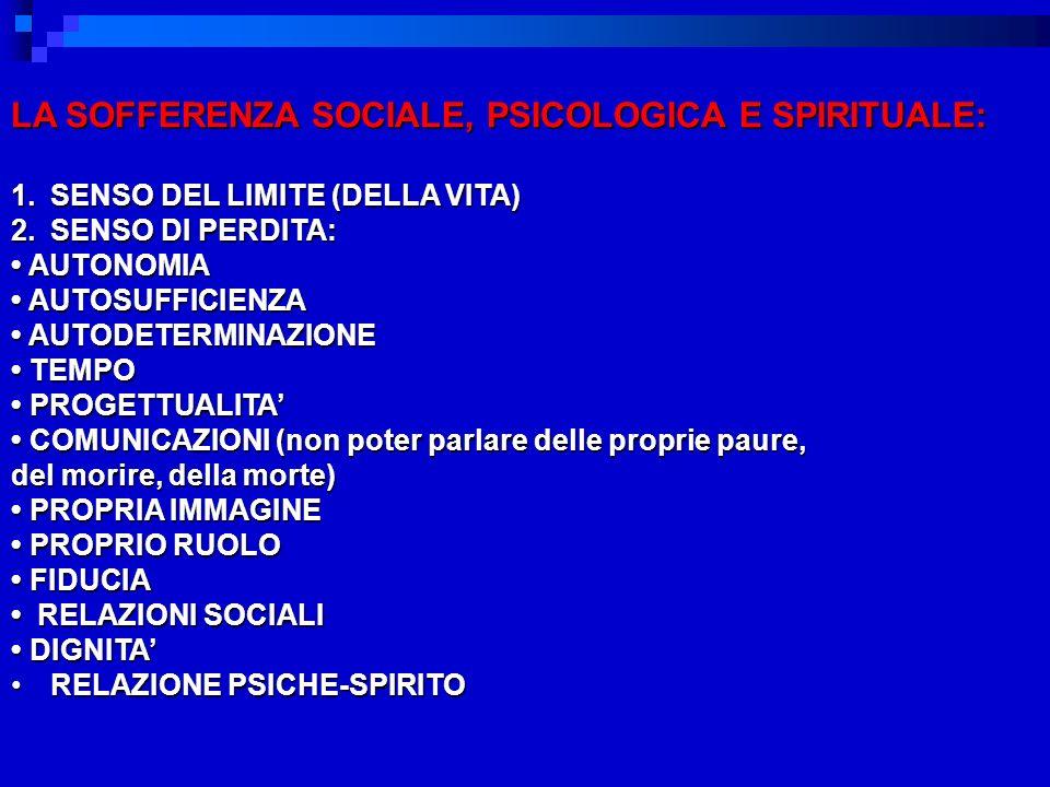 LA SOFFERENZA SOCIALE, PSICOLOGICA E SPIRITUALE: