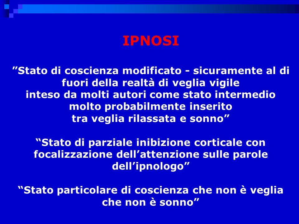 IPNOSI Stato di coscienza modificato - sicuramente al di fuori della realtà di veglia vigile.