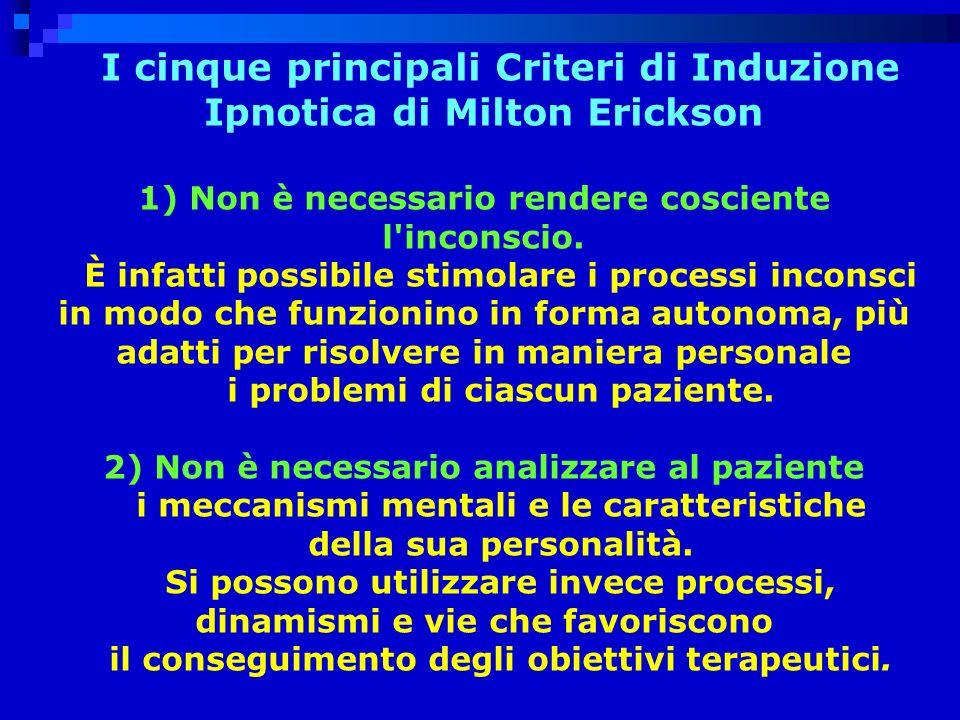 I cinque principali Criteri di Induzione Ipnotica di Milton Erickson