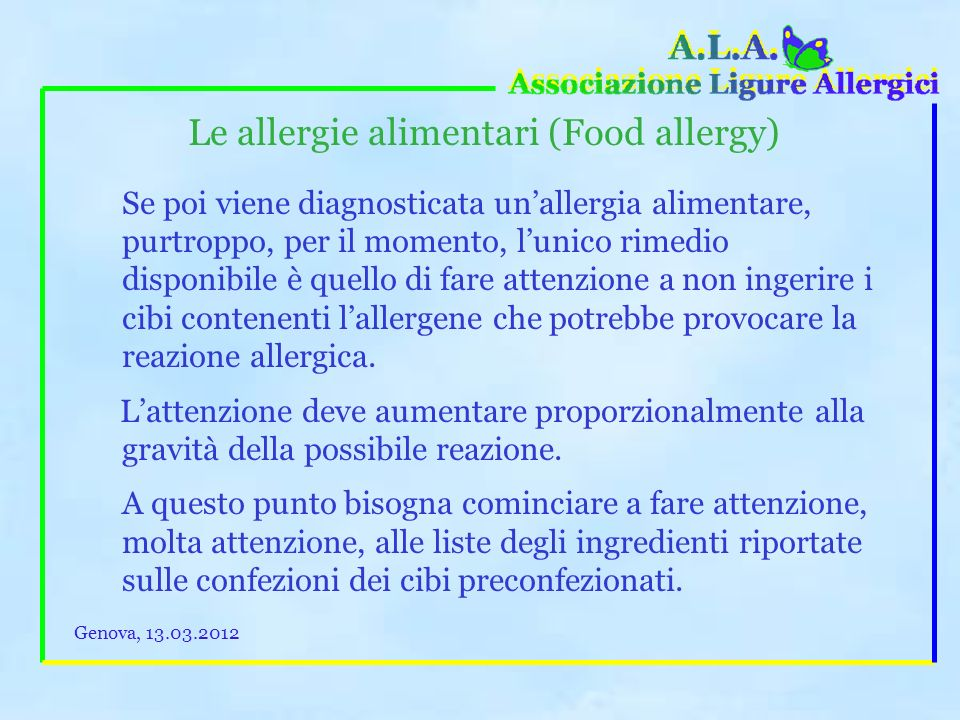Le allergie alimentari (Food allergy)