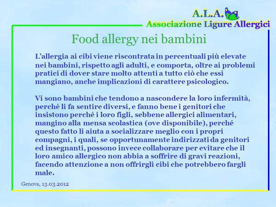 Food allergy nei bambini