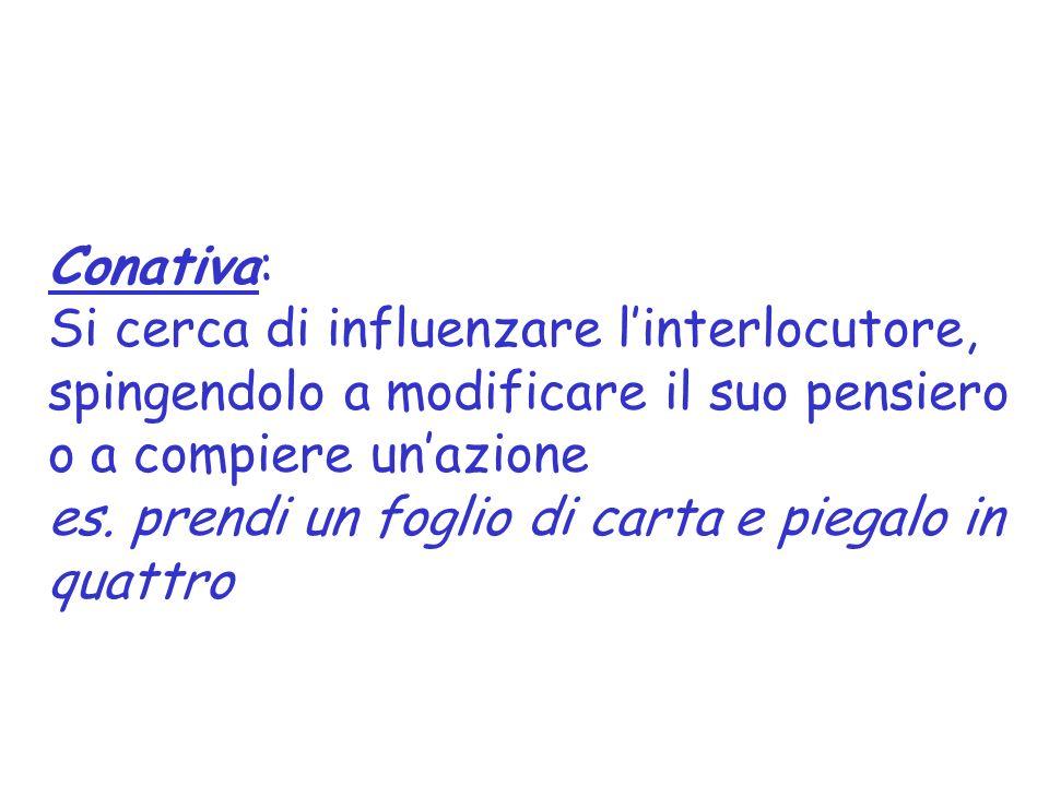 Conativa: Si cerca di influenzare l'interlocutore, spingendolo a modificare il suo pensiero o a compiere un'azione.