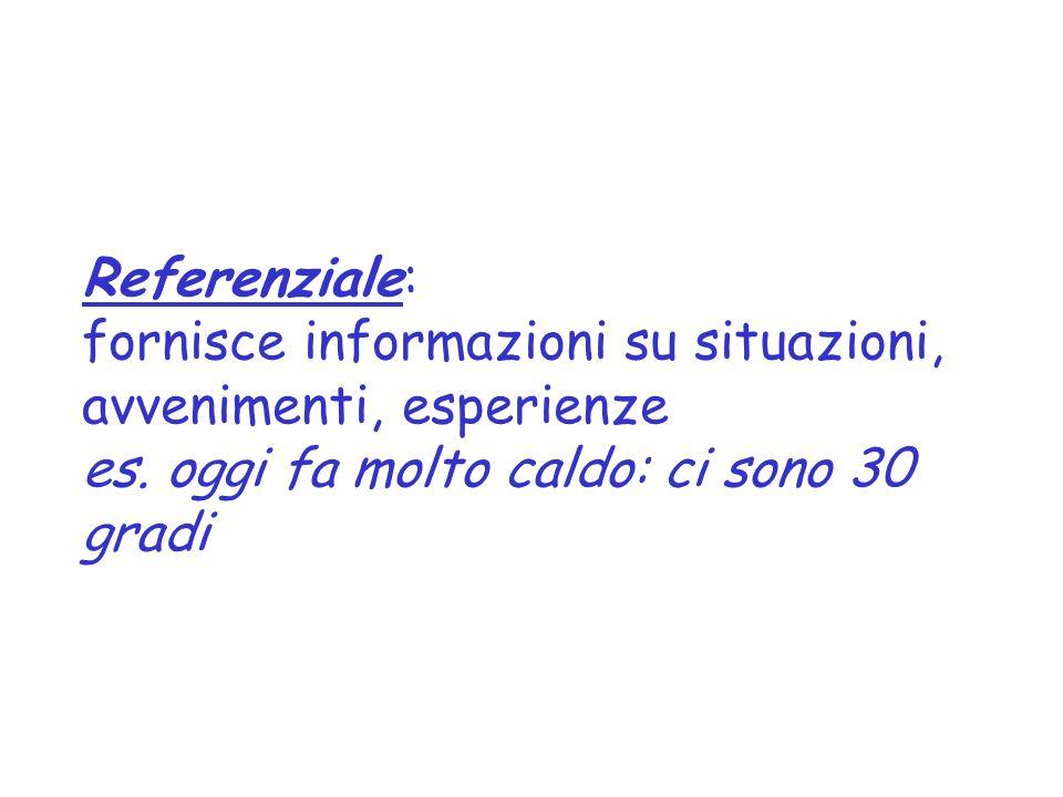 Referenziale: fornisce informazioni su situazioni, avvenimenti, esperienze.