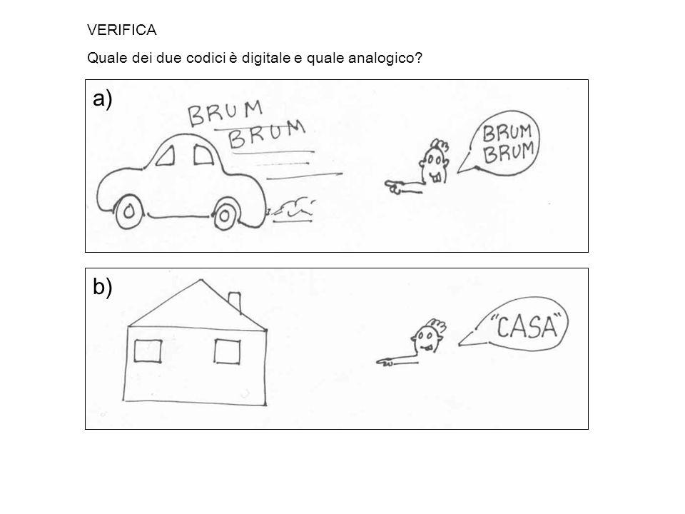 VERIFICA Quale dei due codici è digitale e quale analogico a) b)