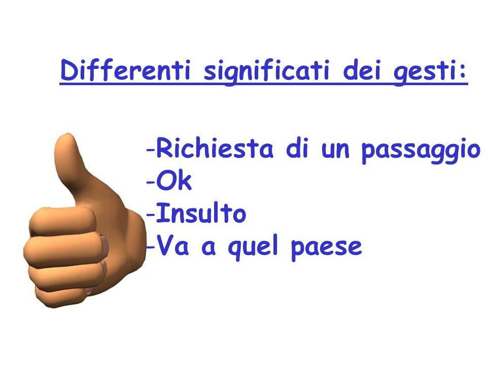 Differenti significati dei gesti: