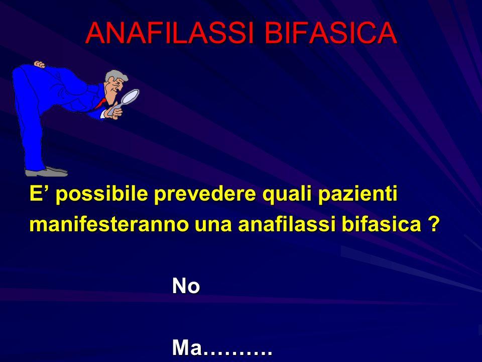 ANAFILASSI BIFASICA E' possibile prevedere quali pazienti manifesteranno una anafilassi bifasica No Ma……….
