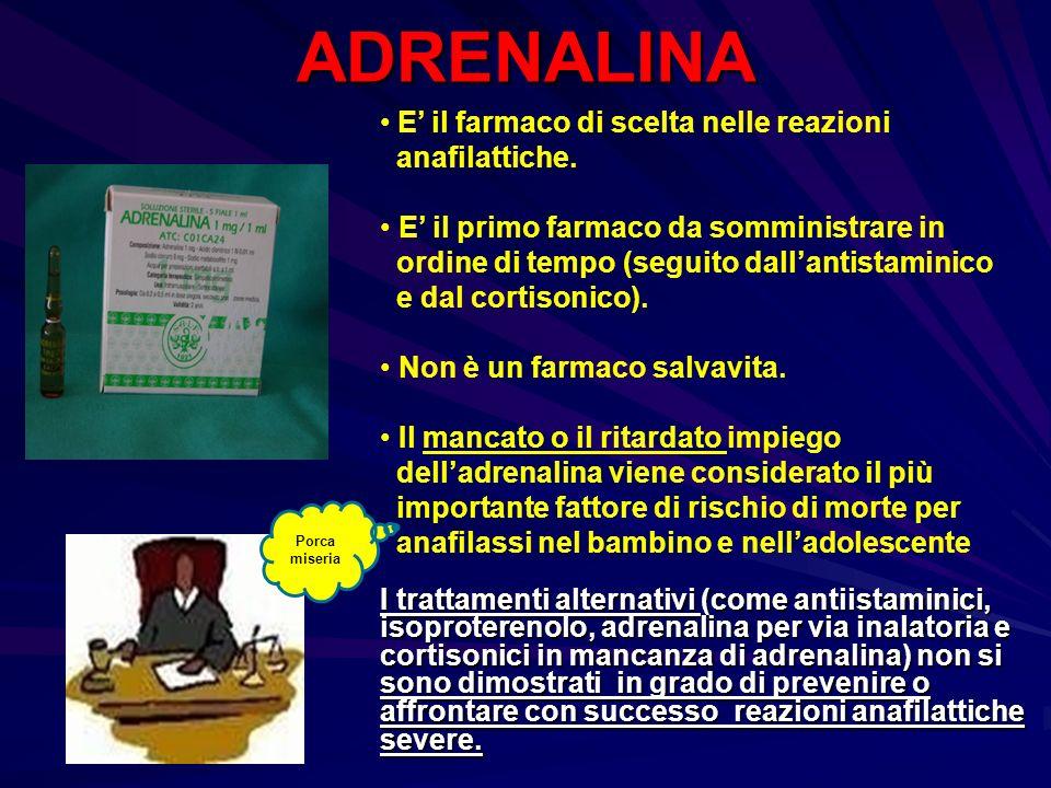 ADRENALINA E' il farmaco di scelta nelle reazioni anafilattiche.