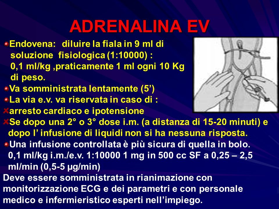 ADRENALINA EV Endovena: diluire la fiala in 9 ml di