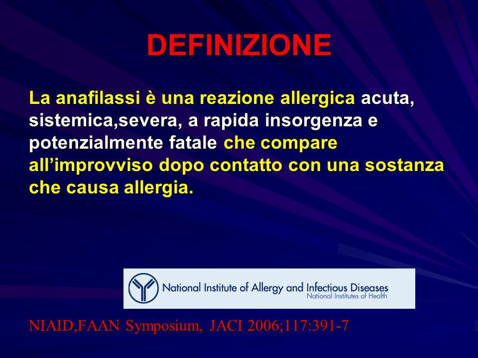 DEFINIZIONE La anafilassi è una reazione allergica acuta,