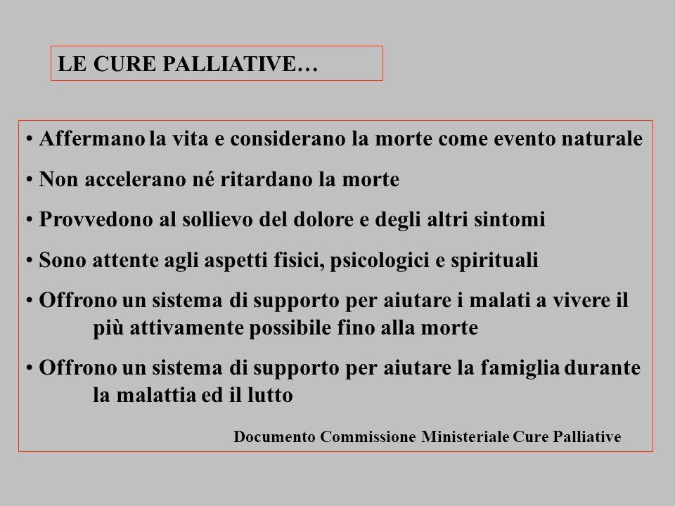 LE CURE PALLIATIVE… Affermano la vita e considerano la morte come evento naturale. Non accelerano né ritardano la morte.