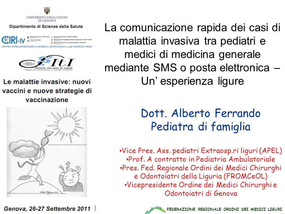 La comunicazione rapida dei casi di malattia invasiva tra pediatri e medici di medicina generale mediante SMS o posta elettronica –