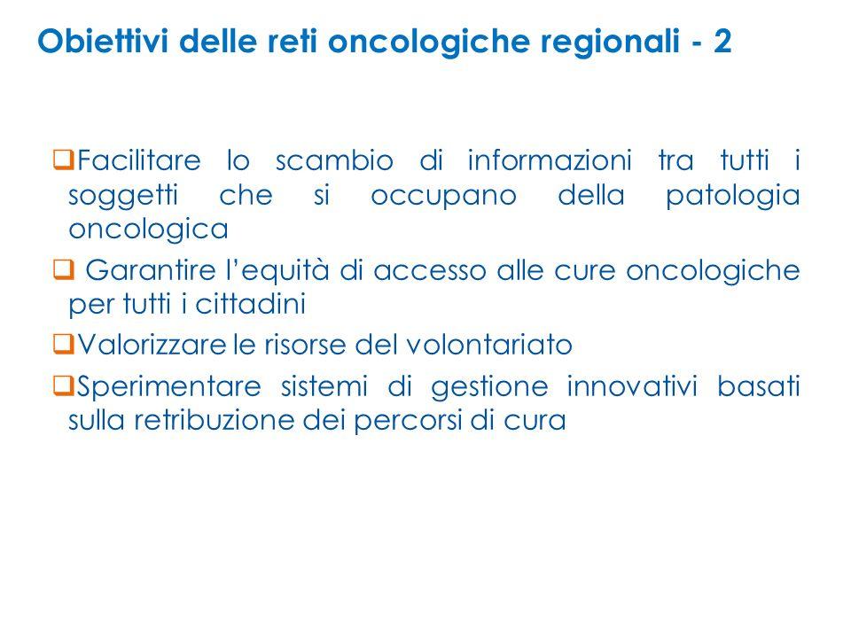 Obiettivi delle reti oncologiche regionali - 2