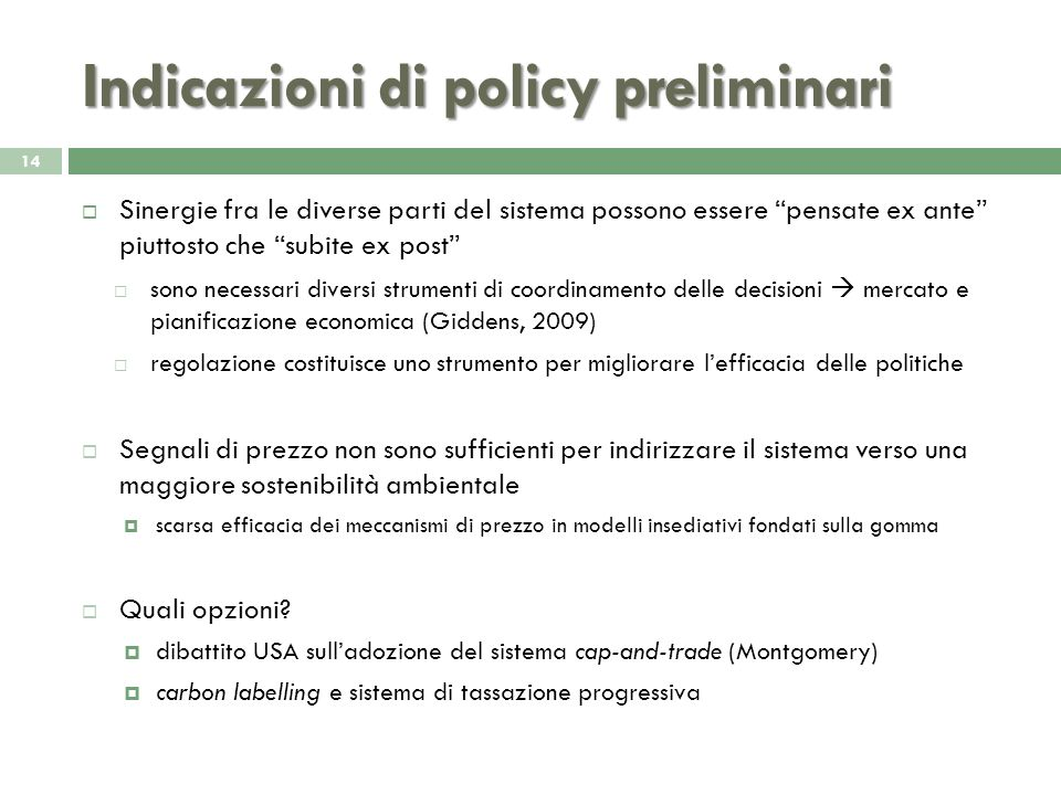 Indicazioni di policy preliminari