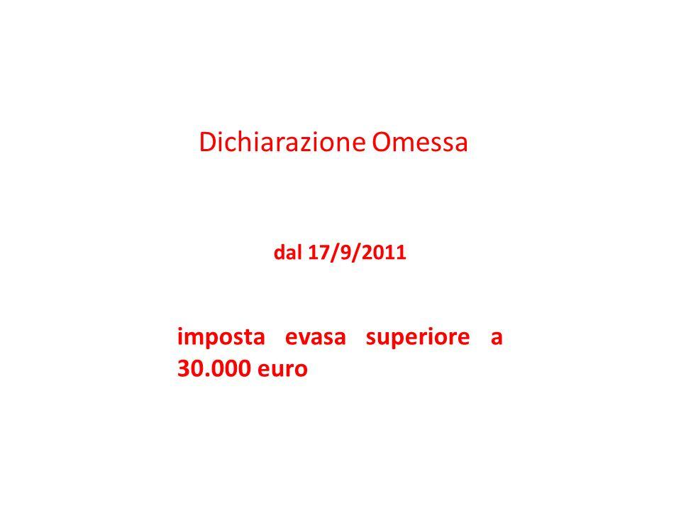 Dichiarazione Omessa imposta evasa superiore a 30.000 euro