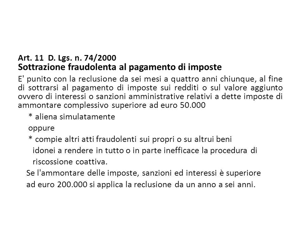 Art. 11 D. Lgs. n. 74/2000 Sottrazione fraudolenta al pagamento di imposte