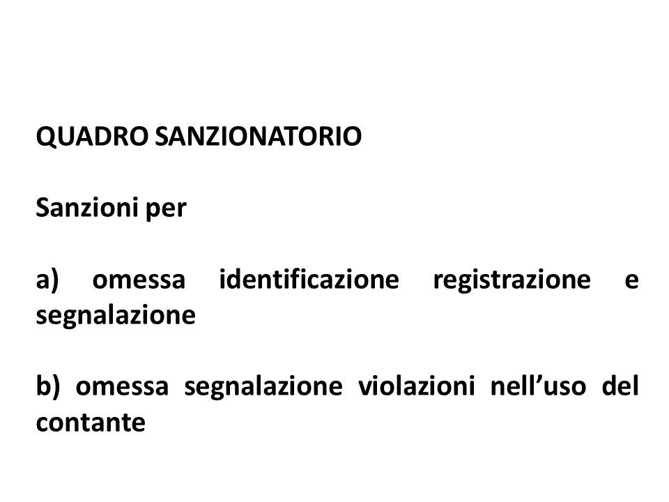 QUADRO SANZIONATORIO Sanzioni per. a) omessa identificazione registrazione e segnalazione.