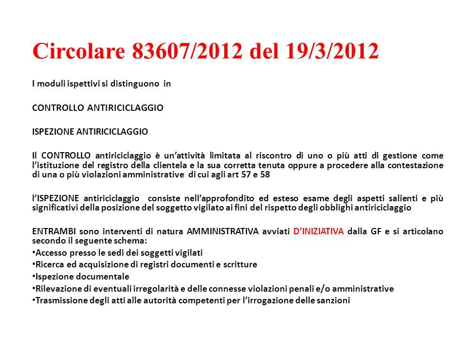 Circolare 83607/2012 del 19/3/2012 CONTROLLO ANTIRICICLAGGIO