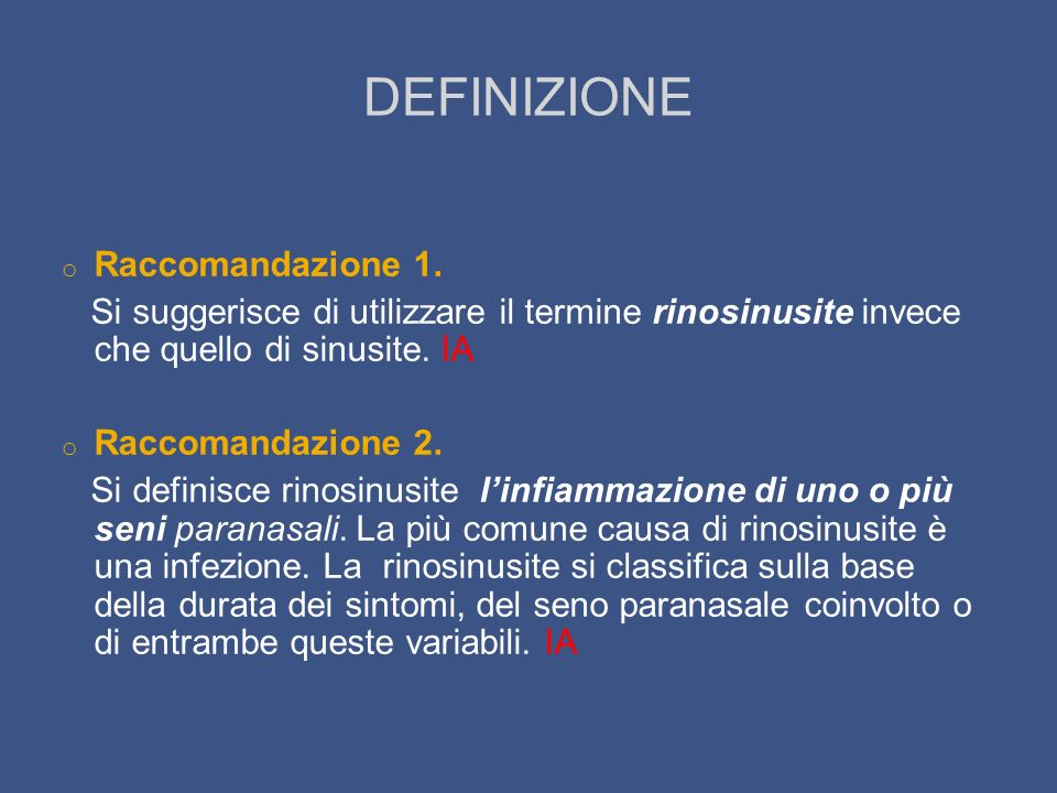 DEFINIZIONE Raccomandazione 1.