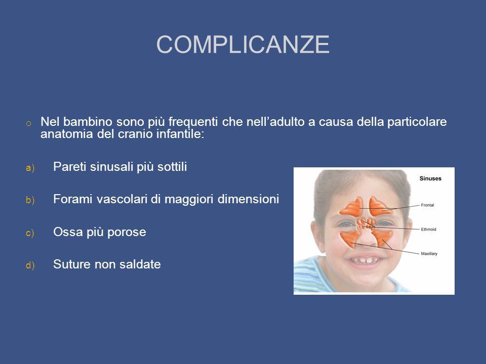 COMPLICANZE Nel bambino sono più frequenti che nell'adulto a causa della particolare anatomia del cranio infantile: