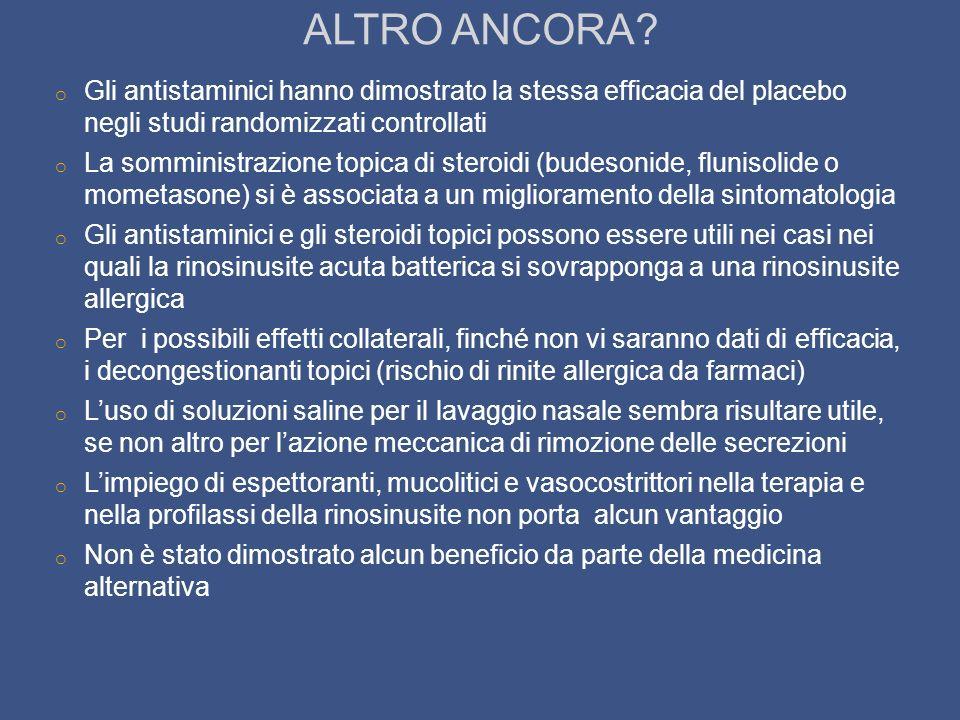 ALTRO ANCORA Gli antistaminici hanno dimostrato la stessa efficacia del placebo negli studi randomizzati controllati.