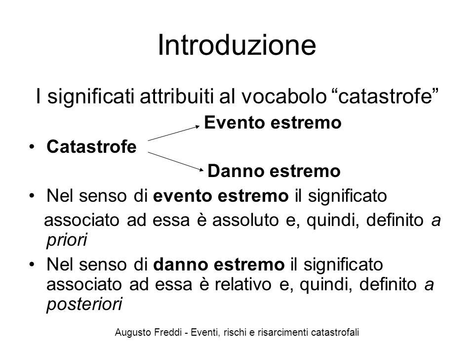 Introduzione I significati attribuiti al vocabolo catastrofe