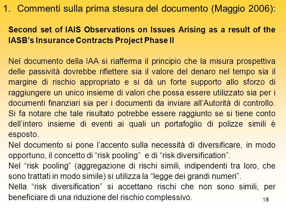 Commenti sulla prima stesura del documento (Maggio 2006):