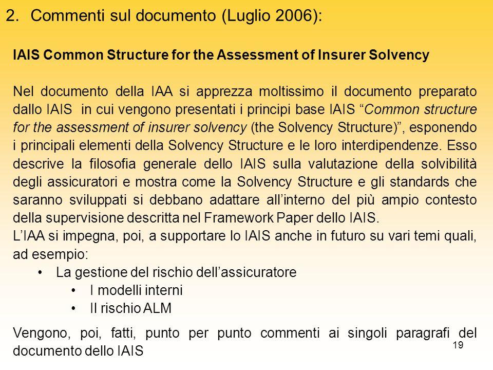 Commenti sul documento (Luglio 2006):