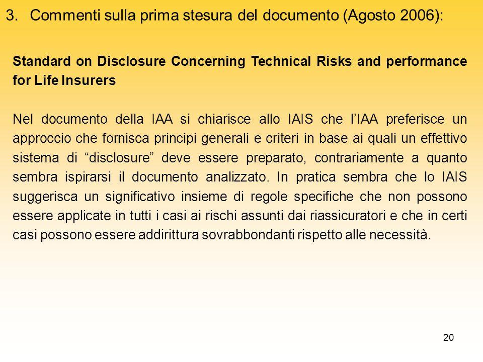 Commenti sulla prima stesura del documento (Agosto 2006):