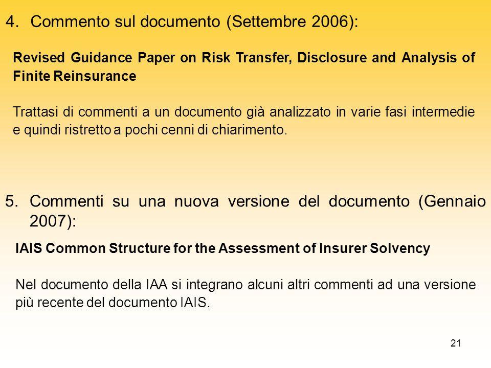 Commento sul documento (Settembre 2006):