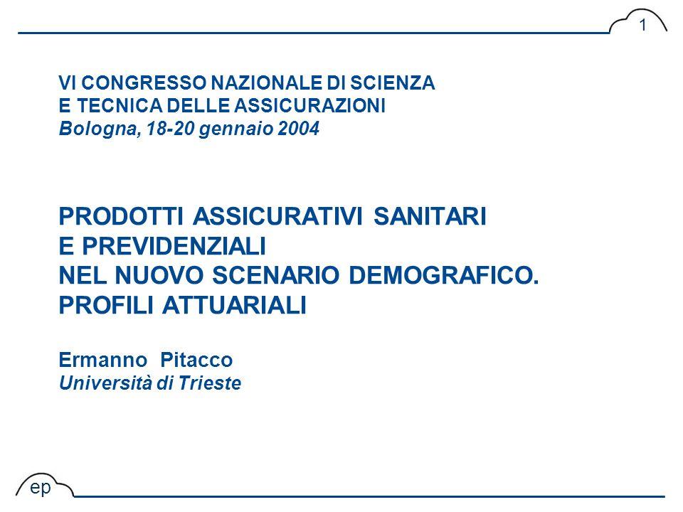 VI CONGRESSO NAZIONALE DI SCIENZA E TECNICA DELLE ASSICURAZIONI Bologna, 18-20 gennaio 2004 PRODOTTI ASSICURATIVI SANITARI E PREVIDENZIALI NEL NUOVO SCENARIO DEMOGRAFICO.