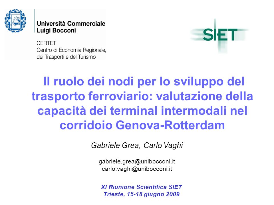 XI Riunione Scientifica SIET