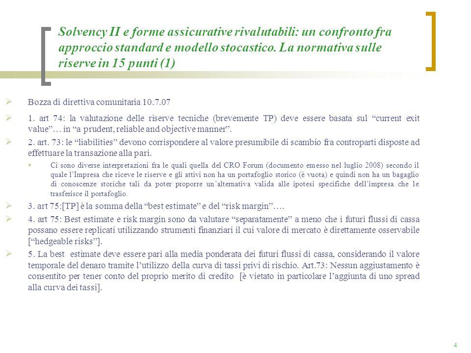 Solvency II e forme assicurative rivalutabili: un confronto fra approccio standard e modello stocastico. La normativa sulle riserve in 15 punti (1)
