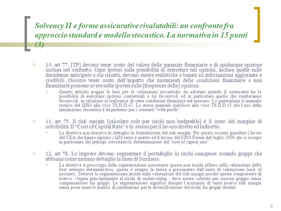 Solvency II e forme assicurative rivalutabili: un confronto fra approccio standard e modello stocastico. La normativa in 15 punti (3)