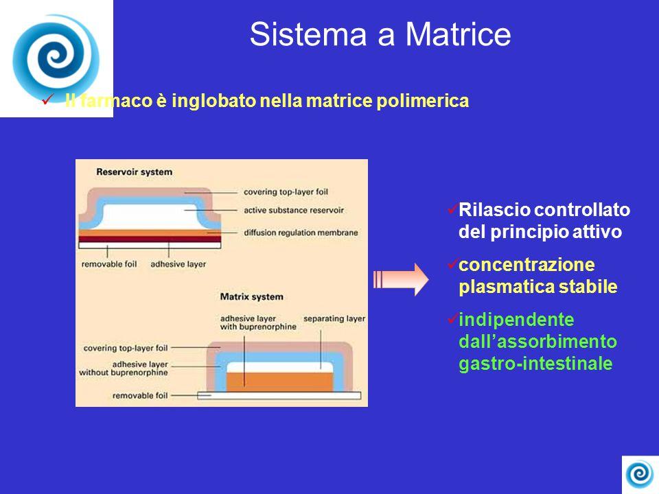 Sistema a Matrice Il farmaco è inglobato nella matrice polimerica