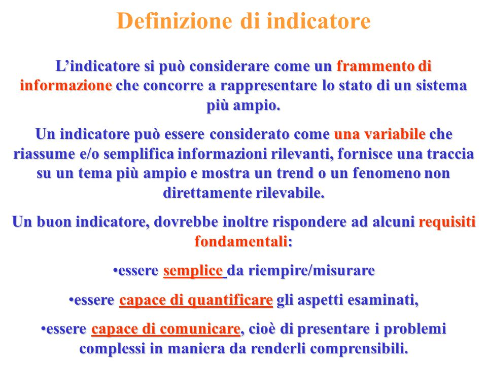 Definizione di indicatore
