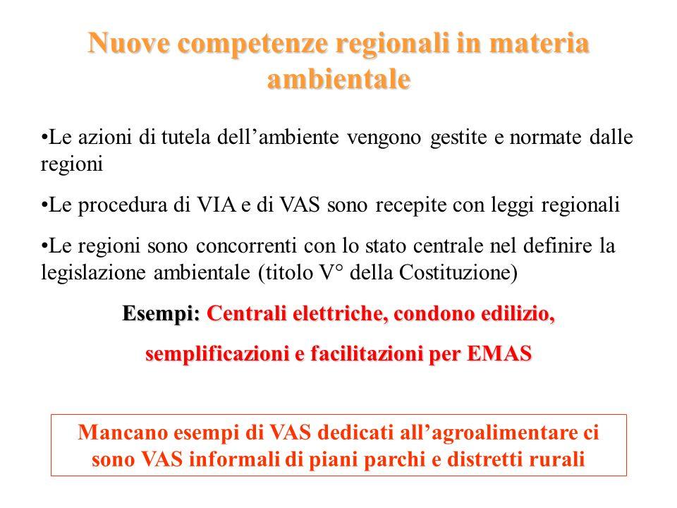 Nuove competenze regionali in materia ambientale